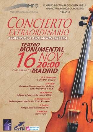 Concierto solidario en el Teatro Monumental de Madrid a favor de las personas con discapacidad intelectual