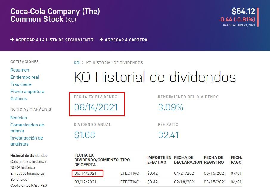 imagen en la que se ve que Coca Cola repartió dividendo el 14 de Junio de 2021