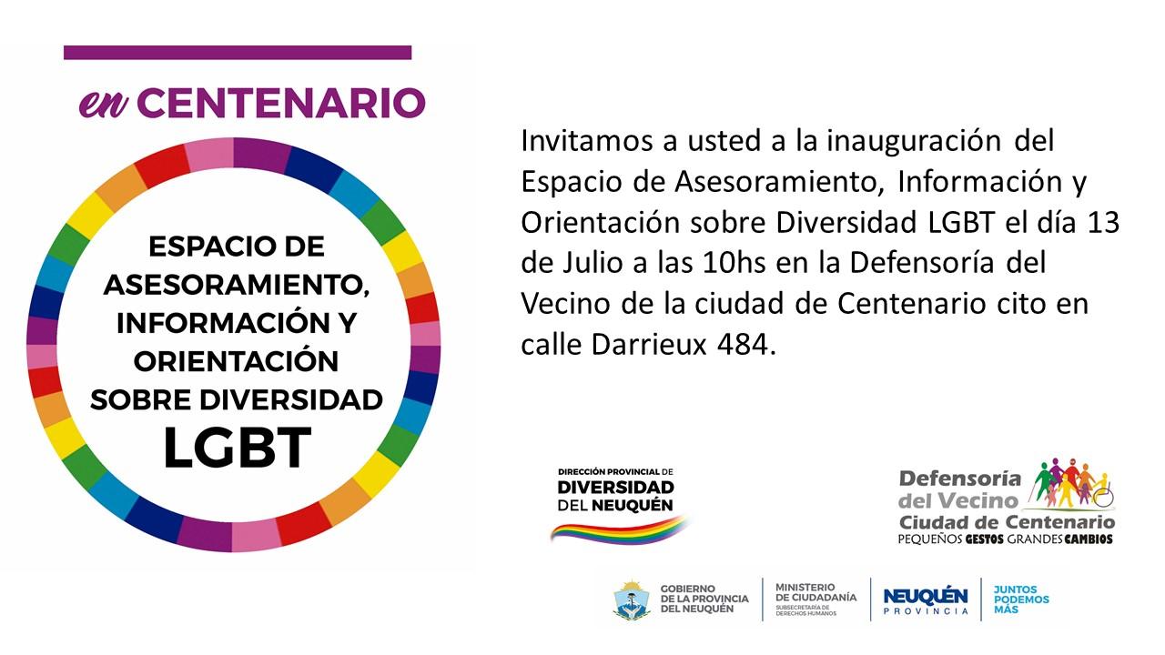Defensoría del vecino: inauguración de espacio LGTB en Centenario