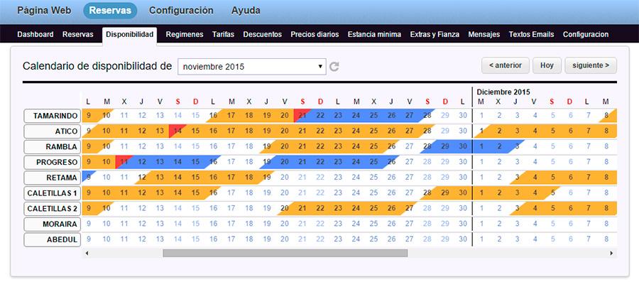 Calendario disponibilidad