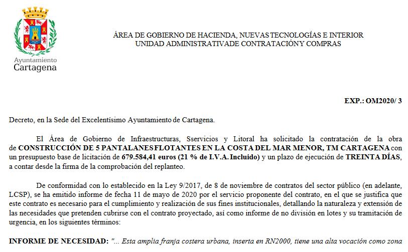 El Ayto. Cartagena se gasta casi 700.000 € en unas pasarelas para baño, cuando la ciudadanía lo que pide es recuperar el Mar Menor