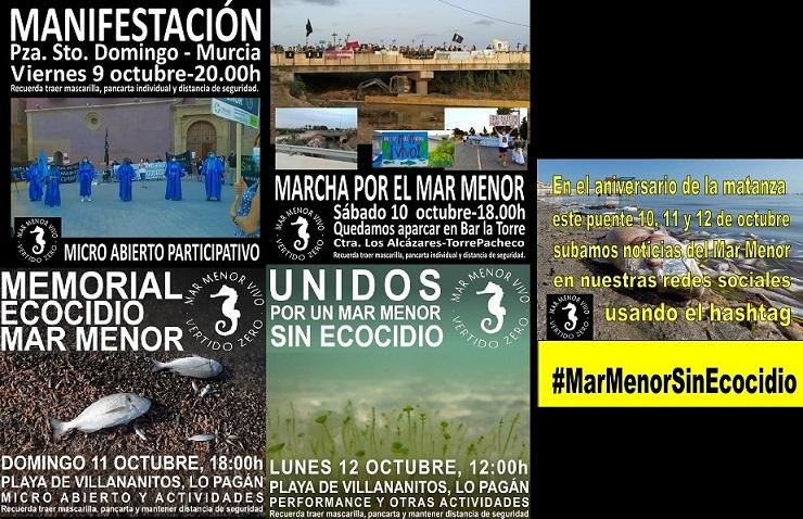 BANDERAS NEGRAS CONVOCA MANIFESTACIONES CONTÍNUAS EN EL PUENTE DEL PILAR, 4 DÍAS DE ACCIONES, POR UN MAR MENOR SIN ECOCIDIO