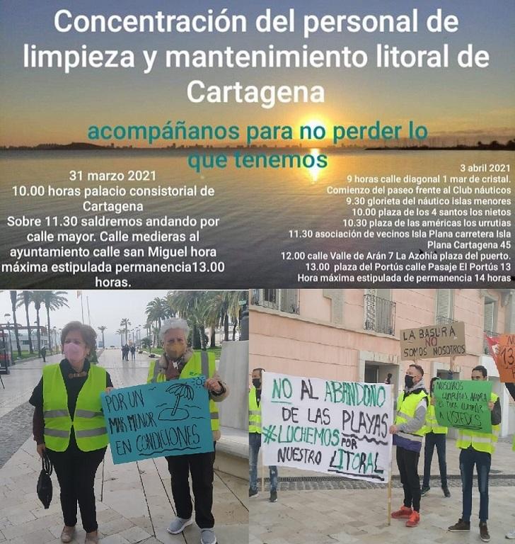 Personal de limpieza del litoral del Mar Menor, se han manifestado hoy y lo harán el 3 abril, para denunciar su situación precaria