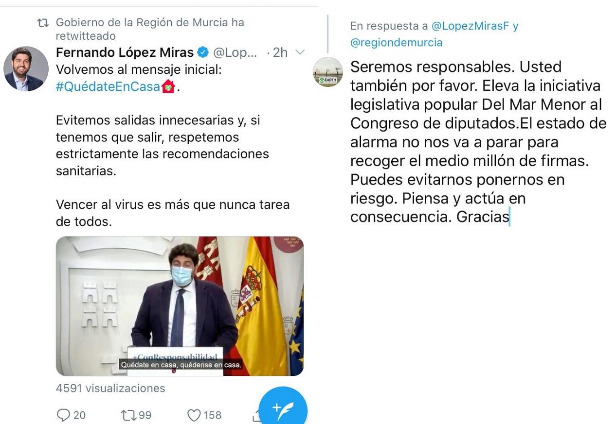 López Miras obliga a recoger 500.000 firmas porque se niega a llevar al Congreso la ILP del Mar Menor y al mismo tiempo pide que no se salga