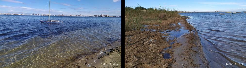 Playa Honda, te encuentras un agua cristalina en unos puntos y en otros es totalmente diferente, luces y sombras del Mar Menor