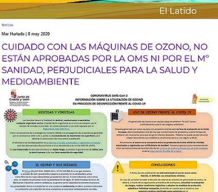 Los telediarios publicitan las máquinas de ozono, sabiendo que son perjudiciales para la salud y el medioambiente