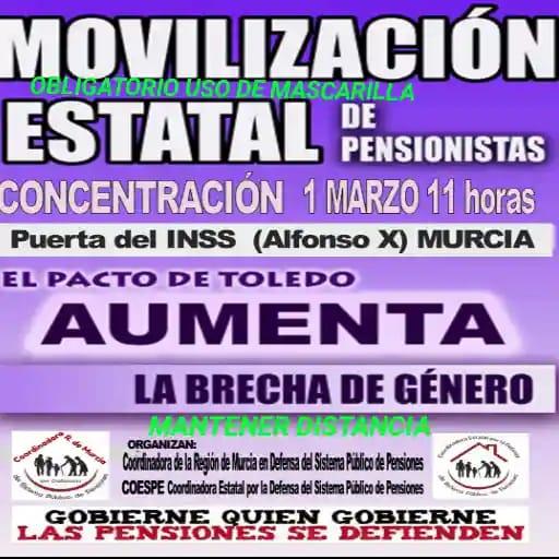 Murcia se suma a las manifestaciones y concentraciones a nivel estatal por las pensiones