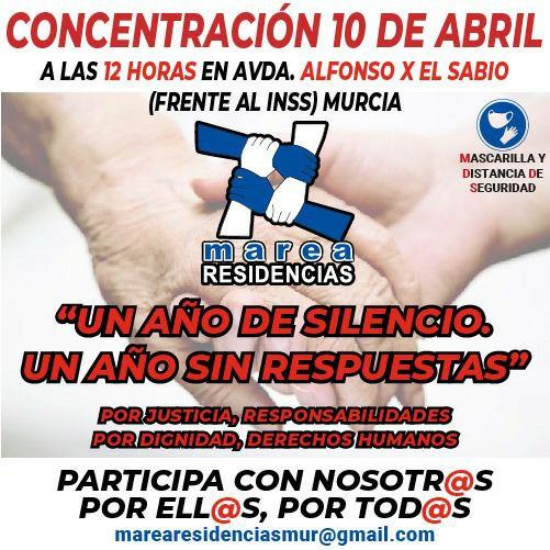 MAREA DE RESIDENCIAS CONVOCA CONCENTRACION EN MURCIA POR: UN AÑO DE SILENCIO. UN AÑO SIN RESPUESTAS