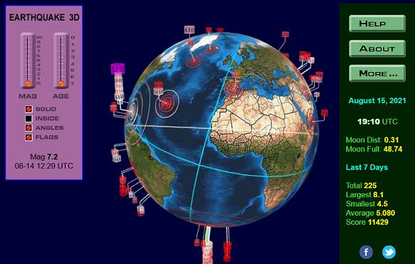 Terremotos y volcanes, visualizadores interactivos a tiempo real