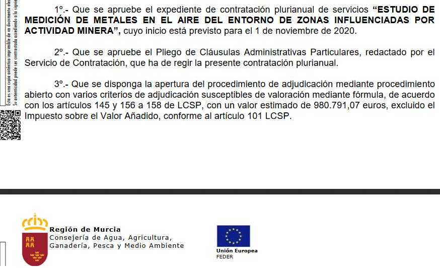 REclamo el millón de euros, ya sé que hay contaminación en el aire por metales pesados en la Cuenca Minera de El LLano a Cartagena