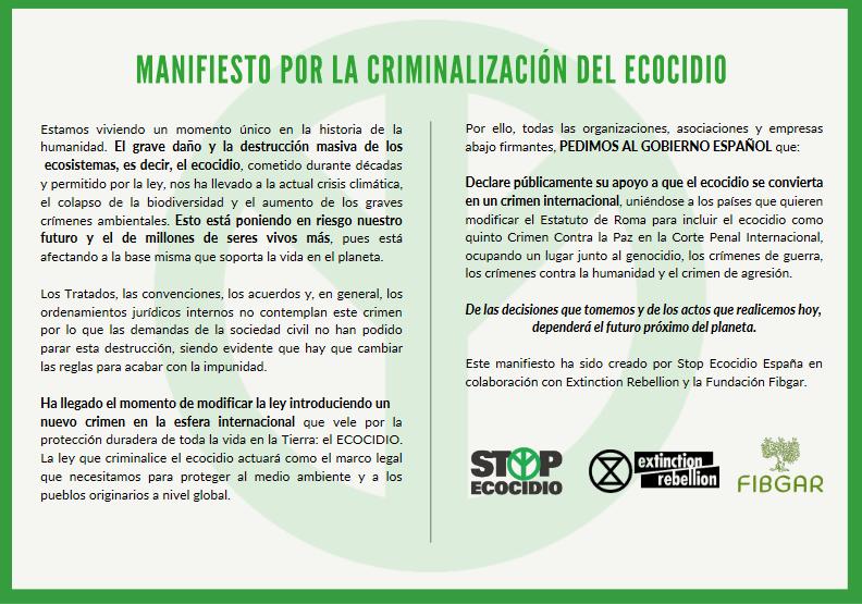 LANZAN UN MANIFIESTO PARA ADHERIRSE HASTA EL 2 JUNIO, PARA PEDIR AL GOBIERNO LA CRIMINALIZACIÓN DEL ECOCIDIO