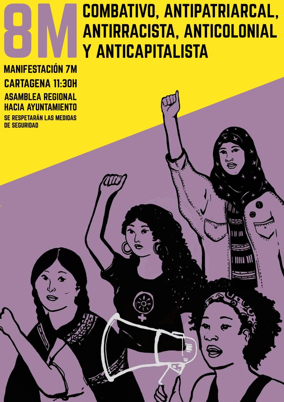 En Cartagena por el 8M hay manifestación el domingo 7 convocada por 5 colectivos y huelga feminista el 8 convocada por CNT