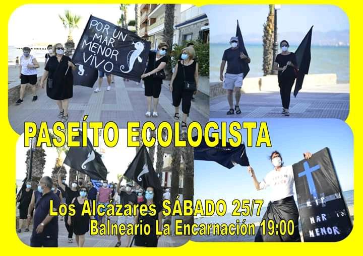 En Los Alcázares se va a realizar un paseo ecologista a partir de las 19:00 del Hotel la Encarnación hasta Plaza del Espejo