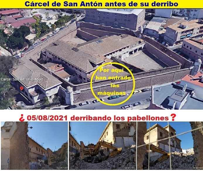 Los pabellones de la cárcel de San Antón están protegidos, sin embargo, parece que la retro se les ha ido un poco, bastante....