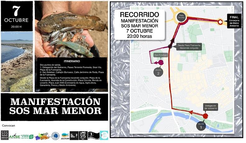Manifestación de hoy por el Mar Menor en Murcia: detalles y recorrido
