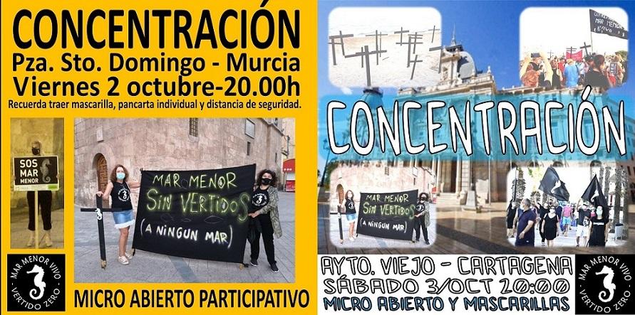 POR EL MAR MENOR, CONCENTRACIÓN MAÑANA 2 OCTUBRE EN MURCIA Y EL SÁBADO 3 EN CARTAGENA