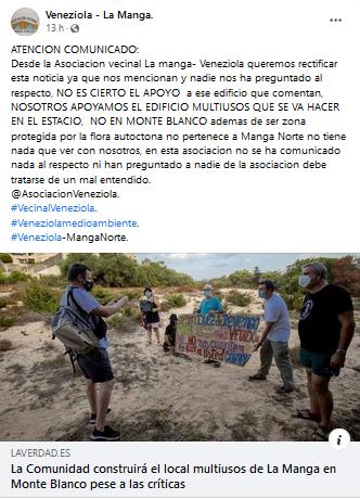 Comunicado asociación vecinos Veneziola La Manga