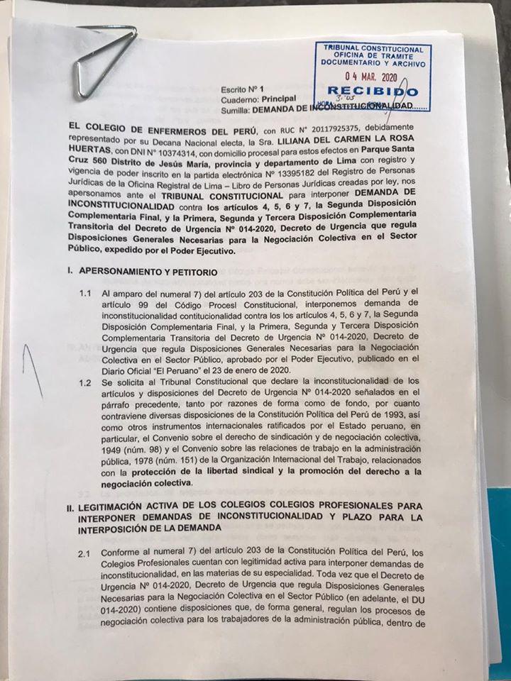 Negociación colectiva: Colegio de Enfermeros del Perú presentó Demanda de Inconstitucionalidad contra el DU 014