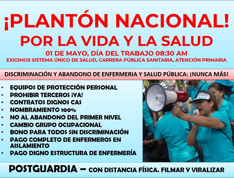 1 de mayo: Enfermeras realizan plantón exigiendo mejoras laborales y piden apoyo de la población.