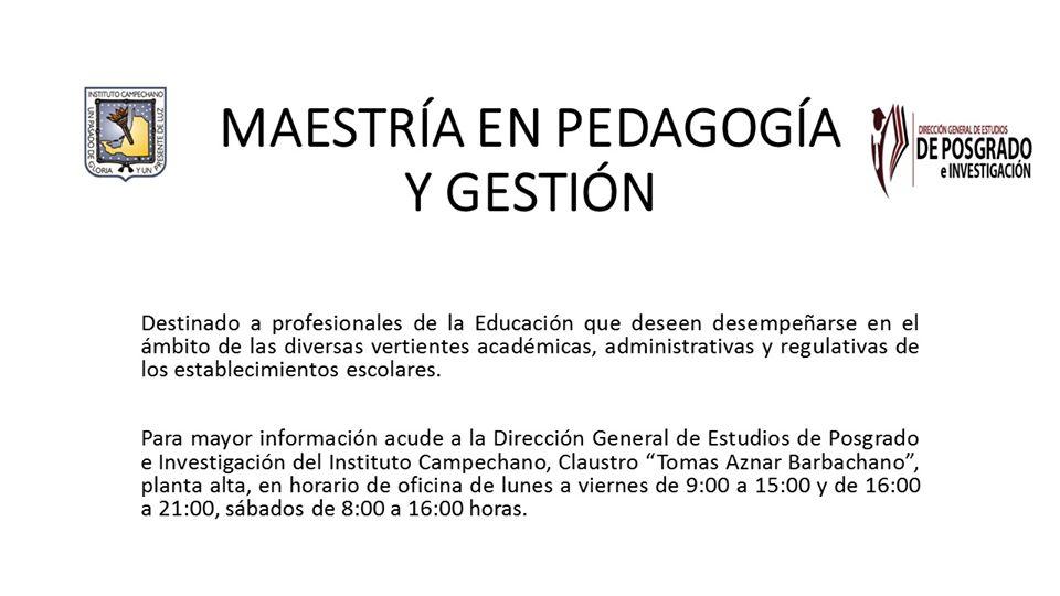 Maestría en pedagogía y gestión
