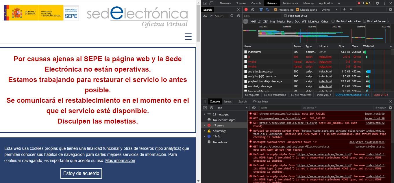 La web del SEPE y sus chapuzas por 13 millones de euros