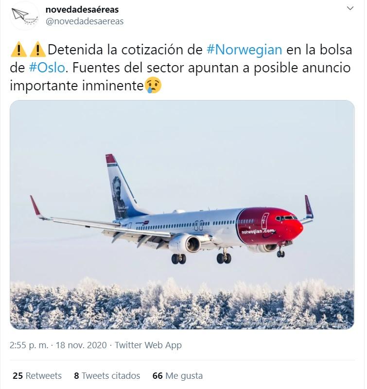 Una cuenta de Twitter publica un próximo comunicado de Norwegian de declarar bancarrota sin fuentes ni criterio