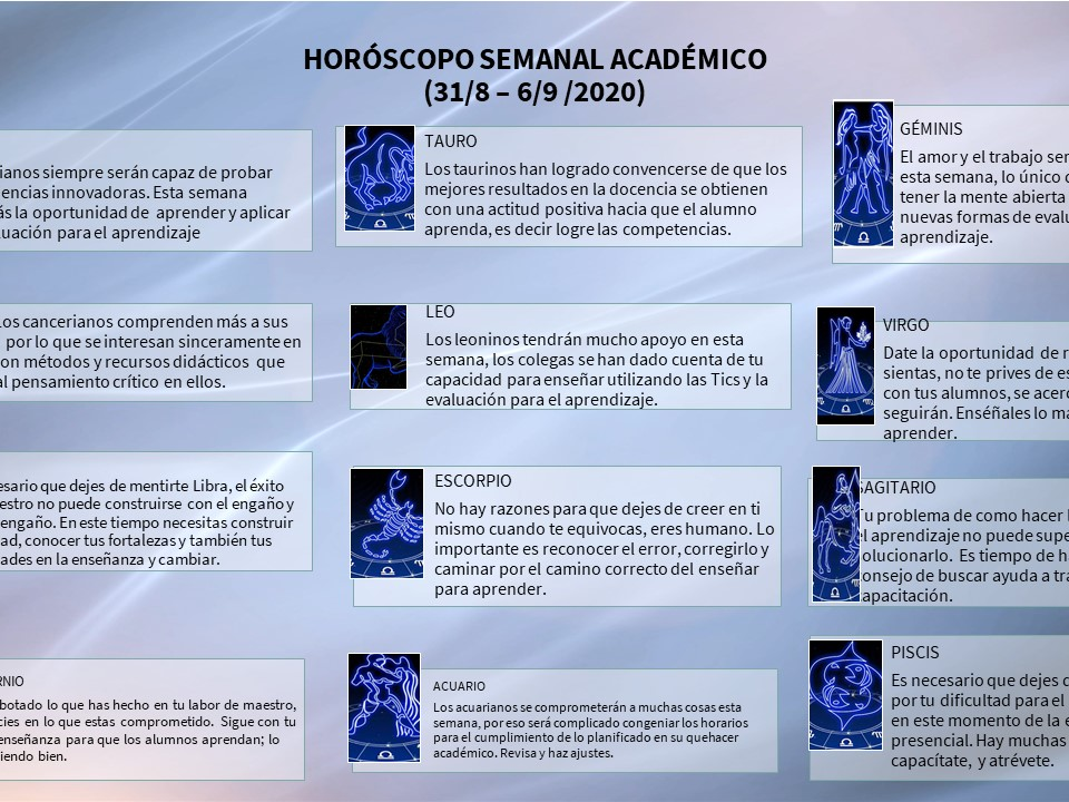 HORÓSCOPO ACADÉMICO SEMANAL