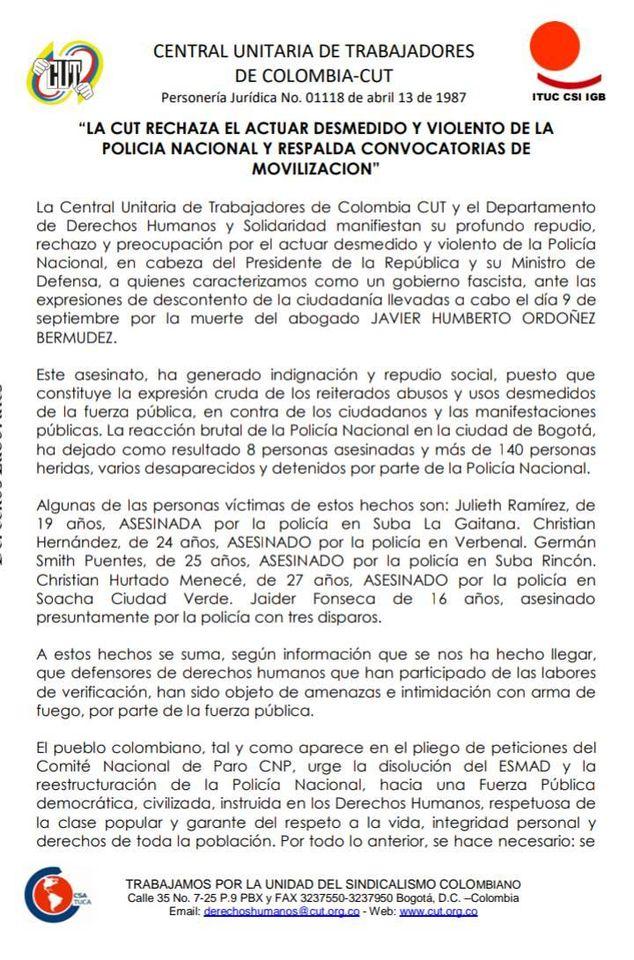 Comunicado público CUT Huila rechaza acciones violentas de la policia nacional y repalda movilzación social
