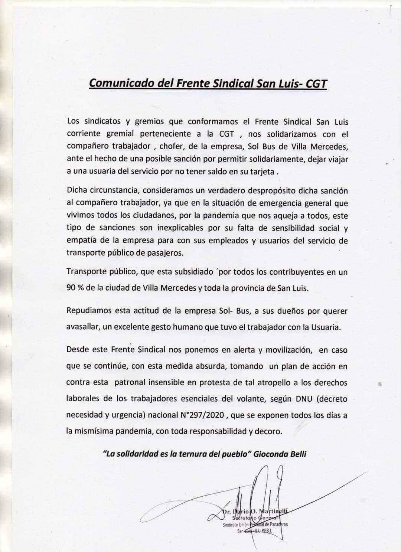 COMUNICADO DEL FRENTE SINDICAL SAN LUIS- CGT.