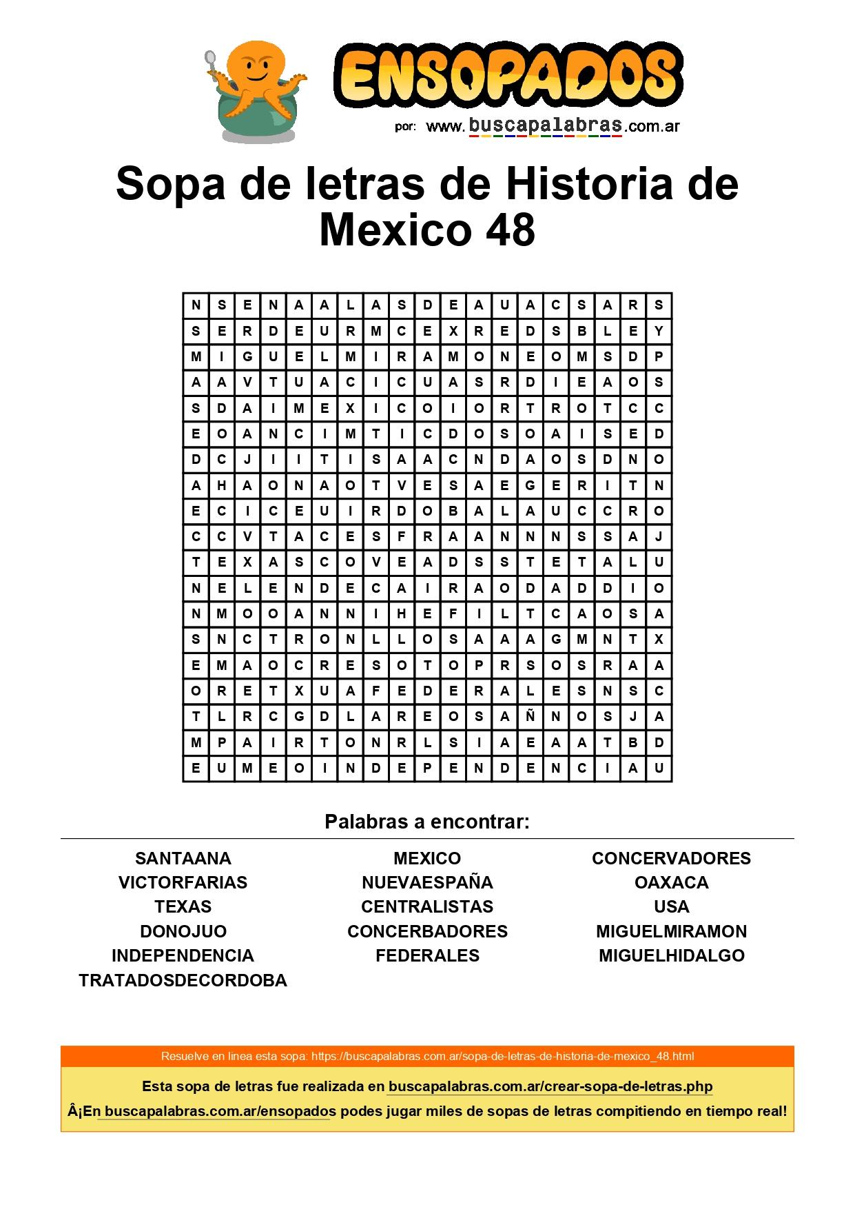 SOPA DE LETRAS HISTORIA DE MEXICO