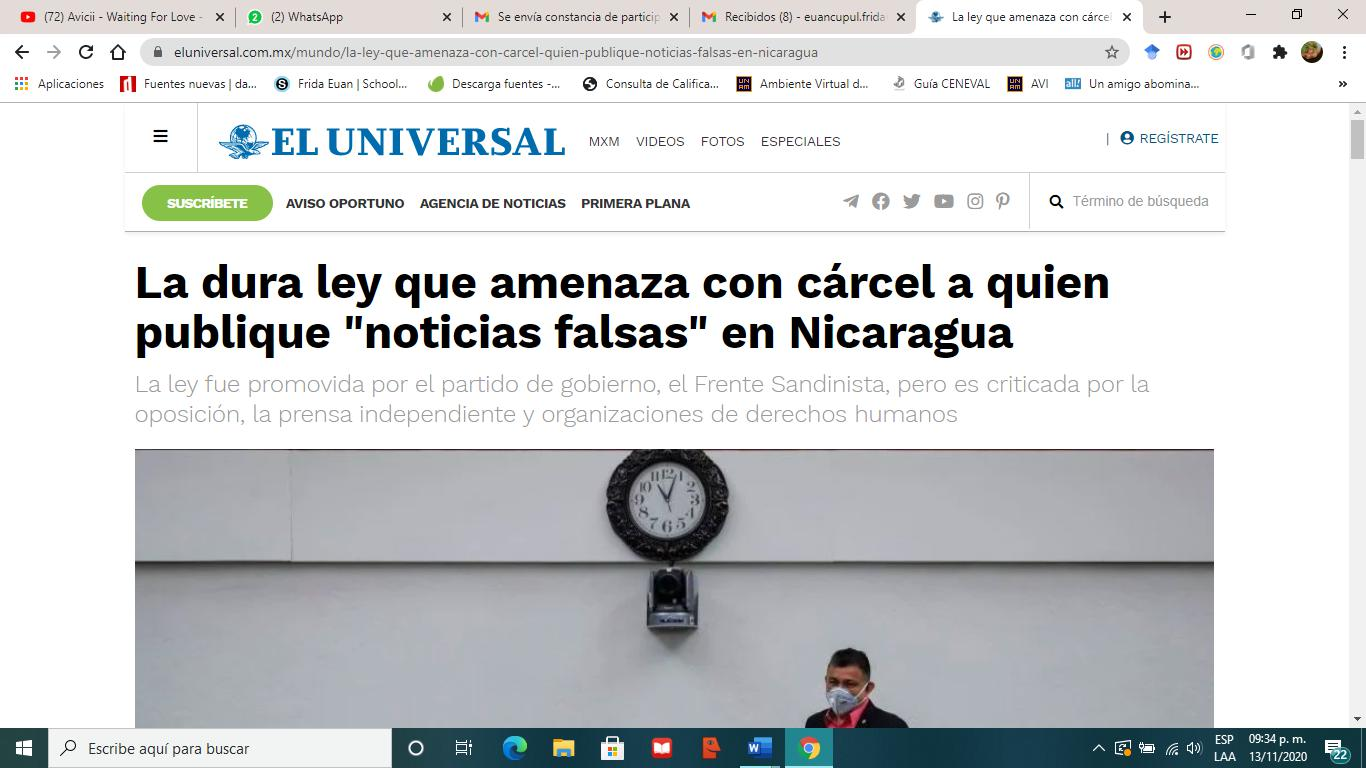 "cárcel a quien publique ""noticias falsas"" en Nicaragua"