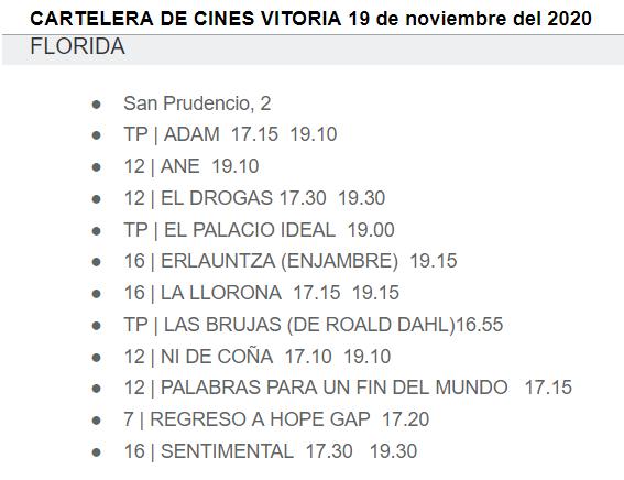 CARTELERA DE CINES VITORIA 19 de noviembre del 2020