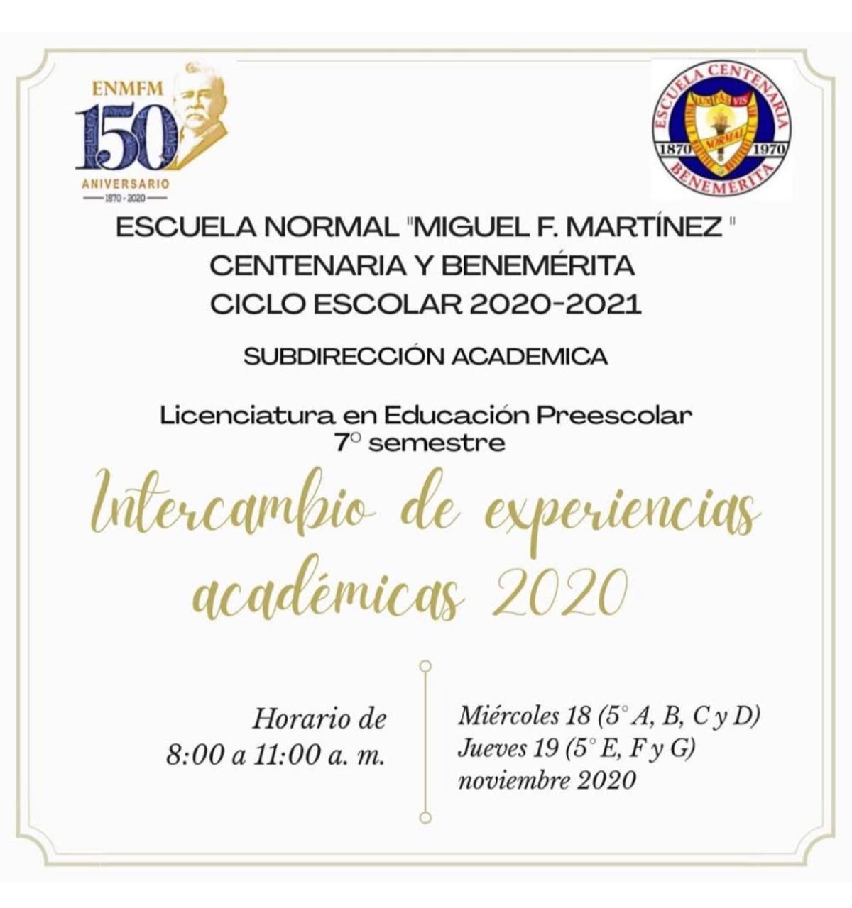 Intercambio de Experiencias Académicas 2020.