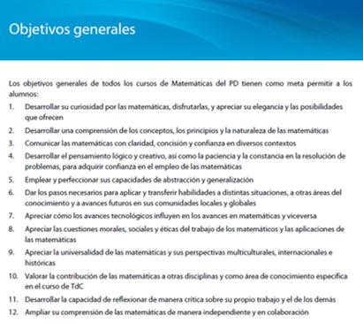 Objetivos Generales de los cursos de Matemáticas del IB
