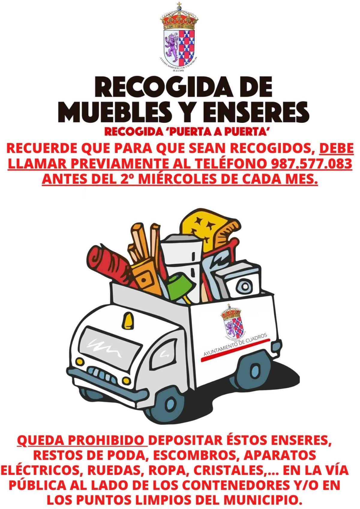 El Ayuntamiento de Cuadros ha querido recordar el servicio de recogida de muebles y enseres.
