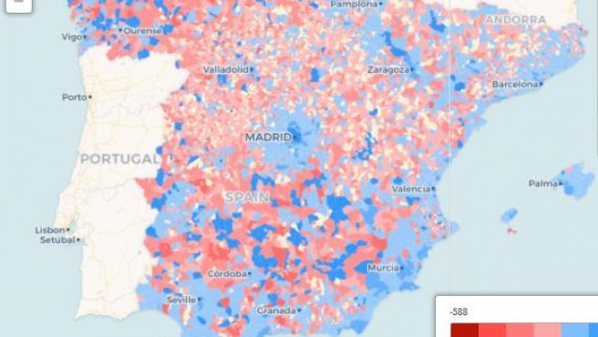 El municipio de Cuadros no se encuentra entre los municipios que más población han perdido en la provincia.