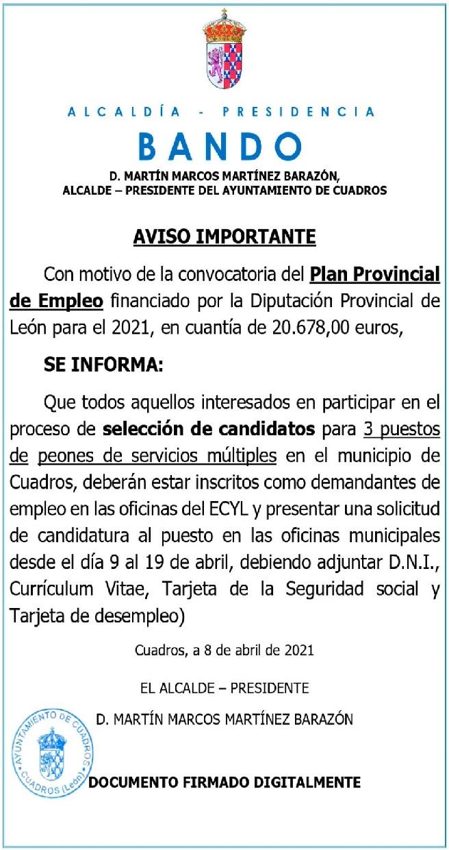 El municipio de Cuadros junto con el Plan Provincial de Empleo.