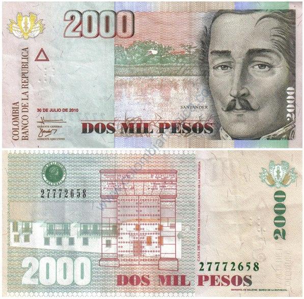 Homenaje a Francisco de Paula Santander en el billete de 2.000
