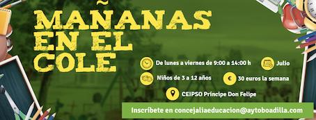 El CEIPSO Príncipe Don Felipe de Boadilla abrirá las mañanas de julio