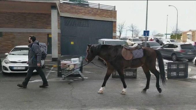 El hombre que fue con su caballo al supermercado durante la nevada Filomena
