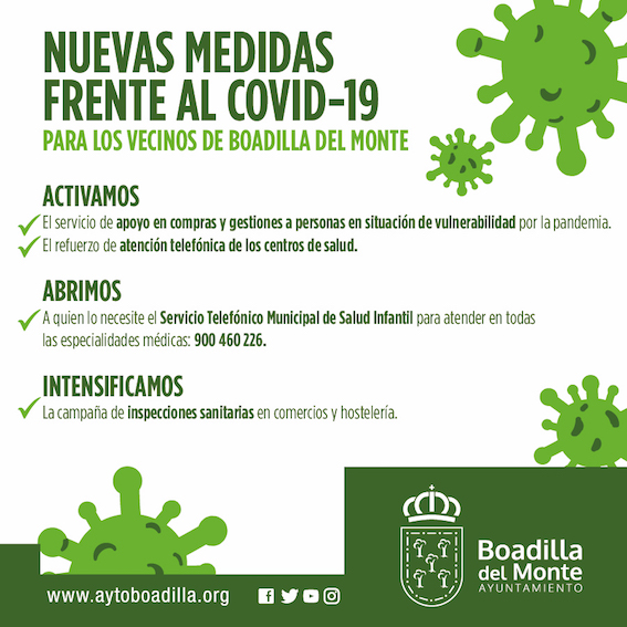 Boadilla aumenta las restricciones y los servicios para frenar la expansión de la COVID-19