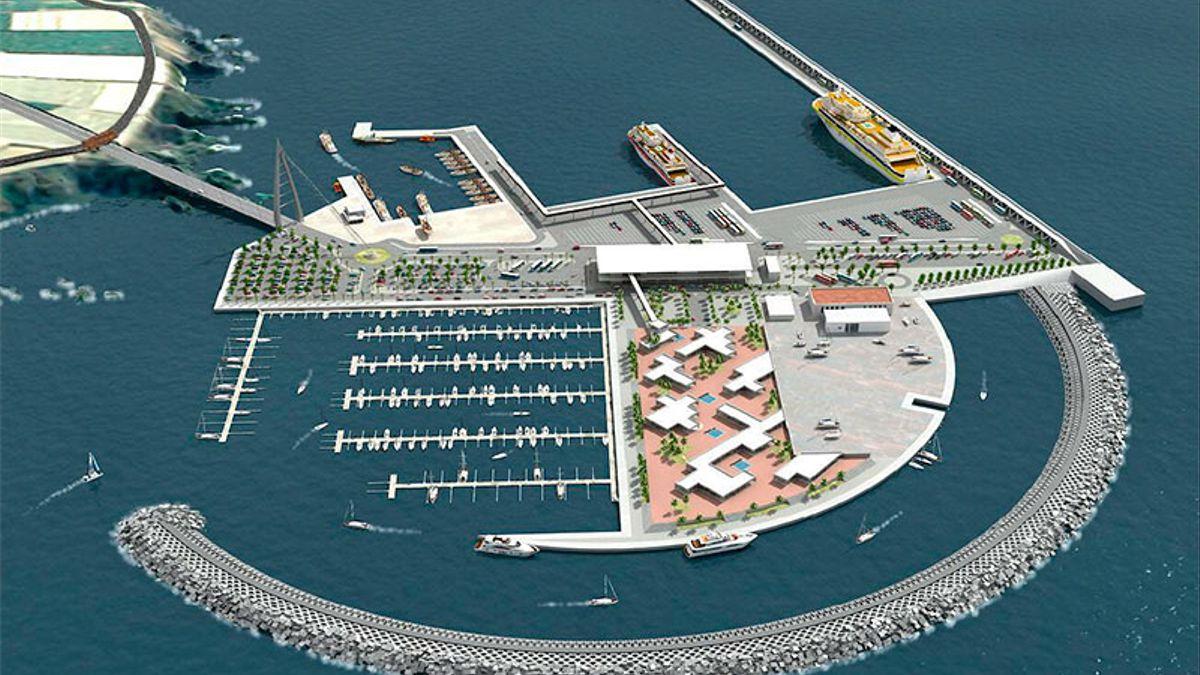 Infografía del puerto comercial de Fonsalía, en Tenerife